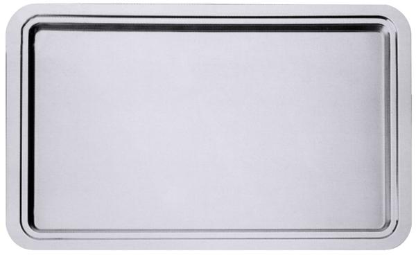 Edelstahltablett GN 2/1 seidenmatt, m. glänzendem Rand, 65/ 53/ 1,5 cm