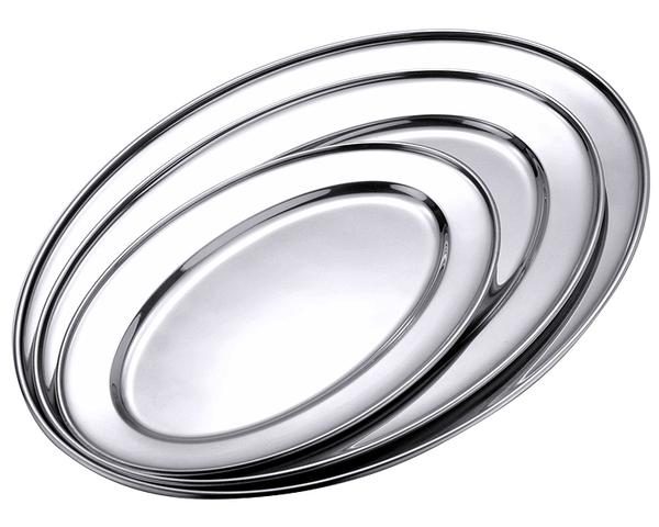 Bratenplatte, oval, flach, hochglänzend, Edelstahl, 40/ 26/ 2,0 cm