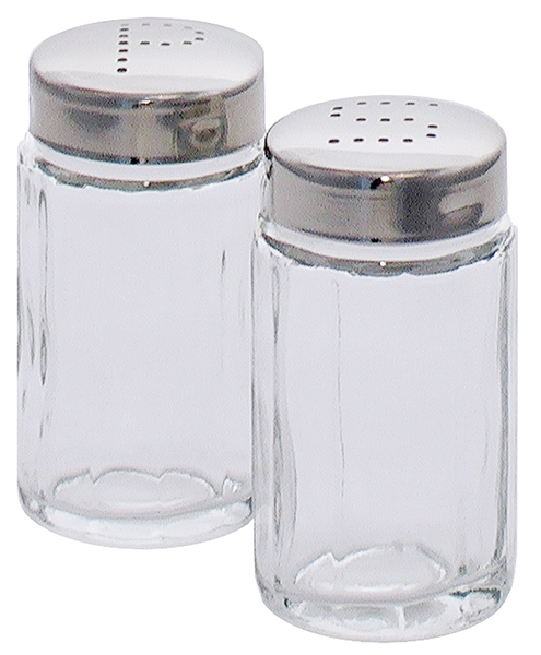 Pfefferstreuer a. geriffeltem Pressglas, Edelstahlkappe, D: 3,8 cm, H: 7 cm