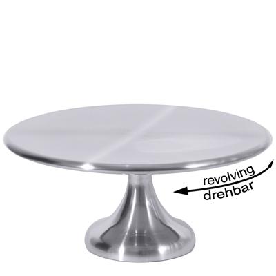 Konditorplatte/ Tortenplatte drehbar, D = 30 cm, H = 13,5 cm, EdSt. 18/10, seidenmatt gebürstet