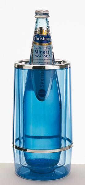 Flaschenkühler, eisblaues Acryl, D außen: 12 cm, D innen: 10 cm, H: 23 cm