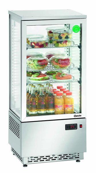 Mini-Kühlvitrine Edelstahl, Inhalt: 78 ltr., AW: 0,18 kW, B: 430 x T: 390 x H: 986 mm