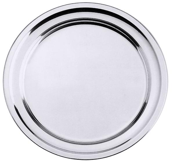 Bratenplatte, rund, m. gebördeltem Rand, seidenmatt, Edelstahl, 21/ 1,2 cm
