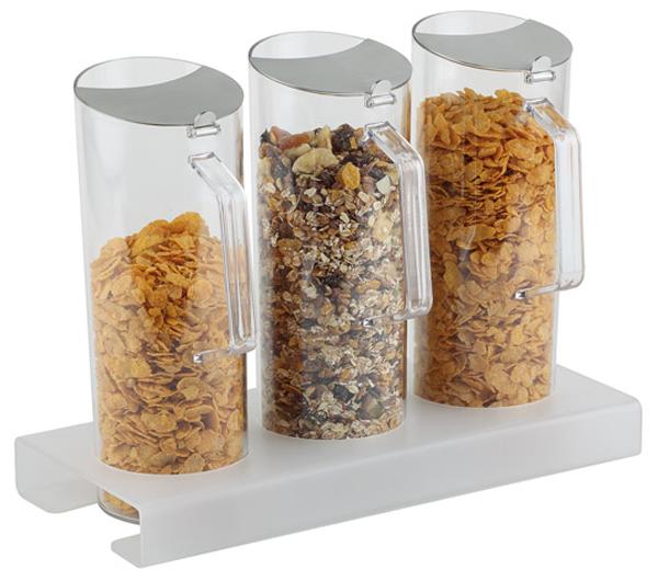 Cerealien-Bar 3 x 1,5 ltr., 7-teilig, 38 x 17 x 16,5 cm, Ständer: 4 cm hoch