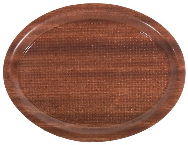 Café-Tablett oval, rutschfest, Pressholz/ Mahagoni, L: 26 cm, B: 20 cm, H: 1,3 cm